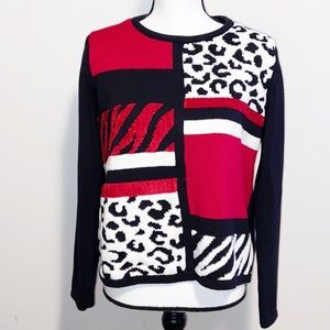 Alfred Dunner Mixed animal print sweater Large